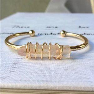 Iridescent Pink Crystal 14K Gold Cuff Bracelet